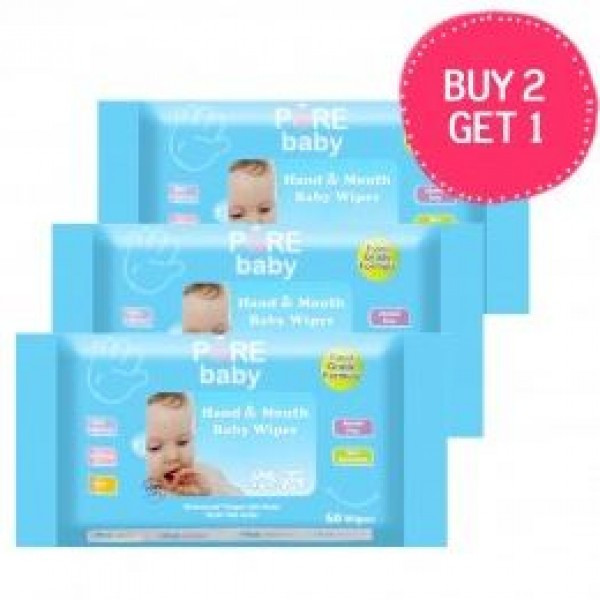 Pure Baby Wipes Hand & Mouth (Buy 2 Get 1 Free)